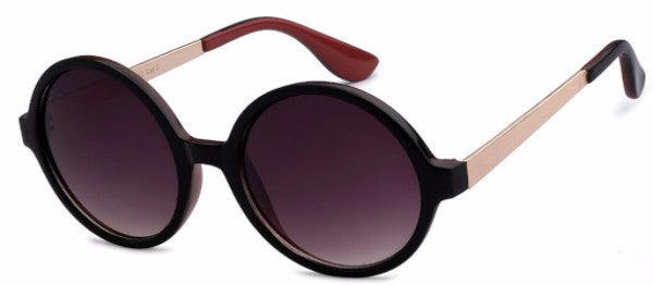 Round women's fashion sunglasses with black frames and gold and brick colored accents, inspired by Hollywood, CA | socalsunnies.com