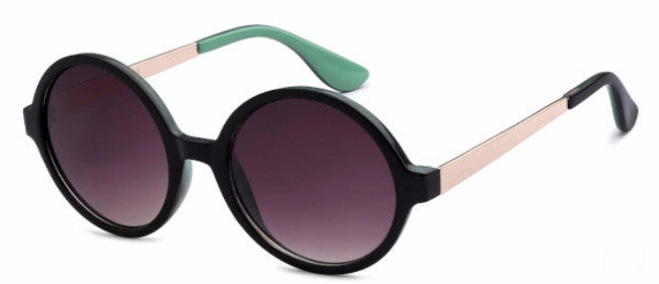 Round women's fashion sunglasses with black frames and  gold and mint green colored accents, inspired by the glamorous reputation of Hollywood, CA | socalsunnies.com
