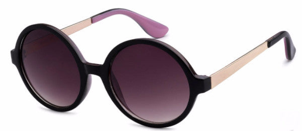 Round women's fashion sunglasses with black frames and gold and lilac colored accents, inspired by the glamorous reputation of Hollywood, CA | socalsunnies.com