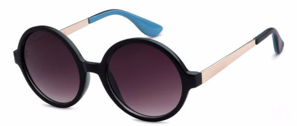 Round women's fashion sunglasses with black frames and gold and sky blue colored accents, inspired by the glamorous reputation of Hollywood, CA | socalsunnies.com