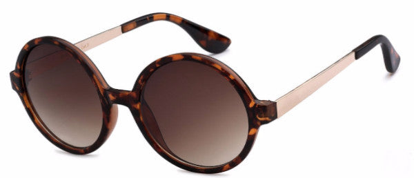 Round women's fashion sunglasses with tortoise frames and gold accents, inspired by the glamorous reputation of Hollywood, CA | socalsunnies.com