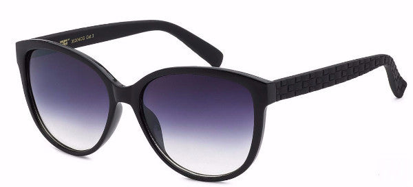 Plastic women's fashion sunglasses in black with a unique basket weave detail on the arm, inspired by the sophisticated town of Temecula, CA | socalsunnies.com