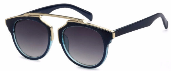 Modified Journeyer women's fashion sunglasses with blue frames and gold accents, inspired by resort life in Palm Springs, CA | socalsunnies.com