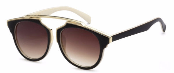 Modified Journeyer women's fashion sunglasses with chocolate brown frames and gold accents, inspired by resort life in Palm Springs, CA | socalsunnies.com