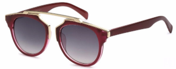 Modified Journeyer women's fashion sunglasses with red frames and gold accents, inspired by resort life in Palm Springs, CA | socalsunnies.com