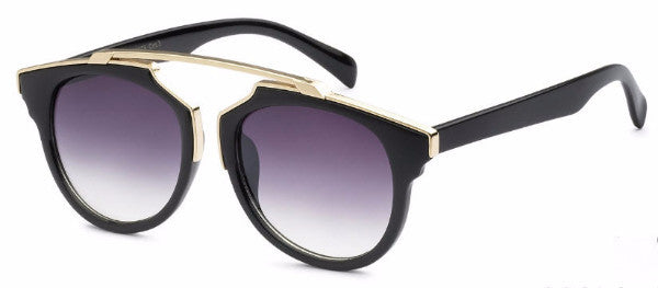 Modified Journeyer women's fashion sunglasses with black frames and gold accents, inspired by resort life in Palm Springs, CA | socalsunnies.com