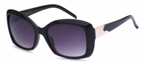 Chic square-frame women's fashion sunglasses with black frames and gold metal detail on the temple, inspired by the charming town of Redlands, CA | socalsunnies.com