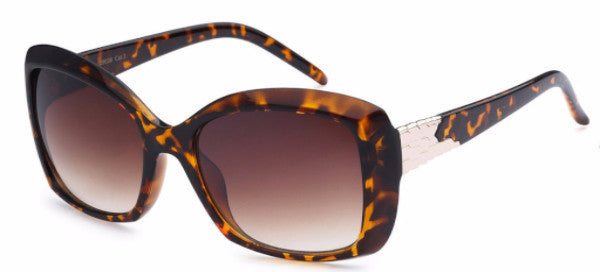 Chic square-frame women's fashion sunglasses with tortoise frames and gold metal detail on the temple, inspired by the charming town of Redlands, CA | socalsunnies.com