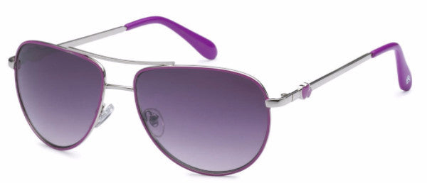 Women's fashion aviator sunglasses with purple colored earpads and hearts at the temple, inspired by the beach life of the SoCal Coastline | socalsunnies.com
