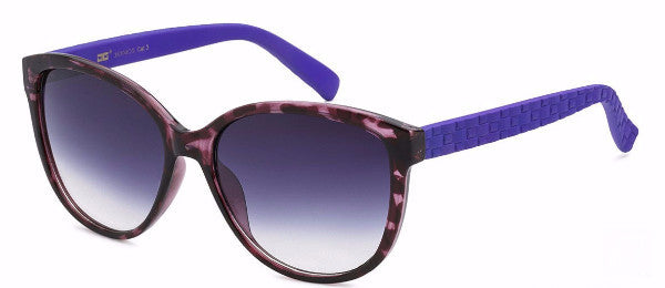 Plastic women's fashion sunglasses in purple tortoise with a unique basket weave detail on the arm, inspired by the sophisticated town of Temecula, CA | socalsunnies.com