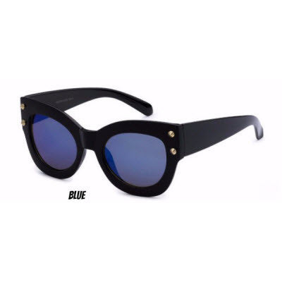 Edgy, thick-rimmed women's fashion sunglasses with stud detail and mirrored blue lenses inspired by Los Angeles, the City of Angels | socalsunnies.com