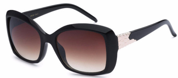 Chic square-frame women's fashion sunglasses with black frames, brown gradient lens and gold metal detail on the temple, inspired by the charming town of Redlands, CA | socalsunnies.com