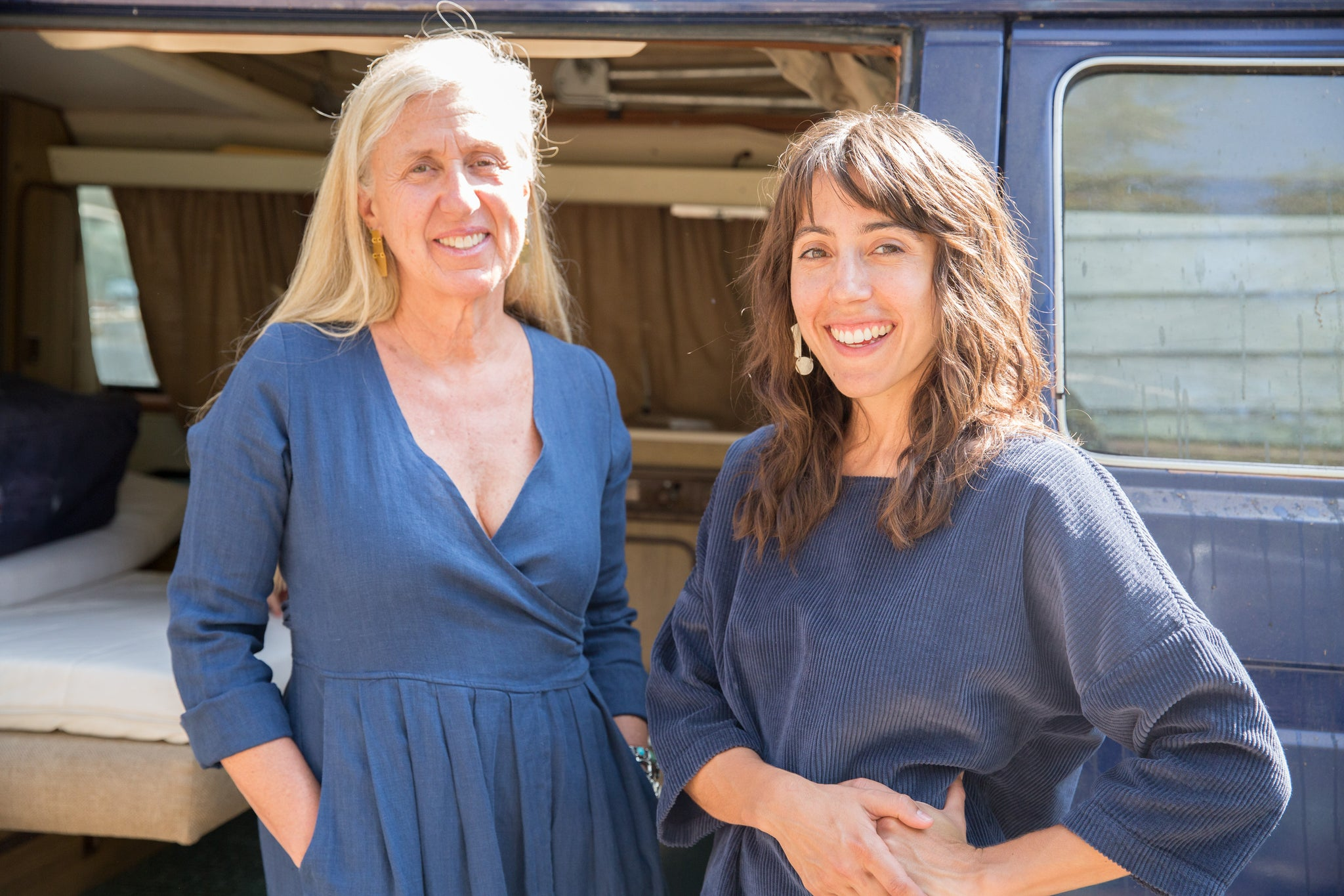 Dotter owners, Susanne McLean and Annika Huston, in front of blue van