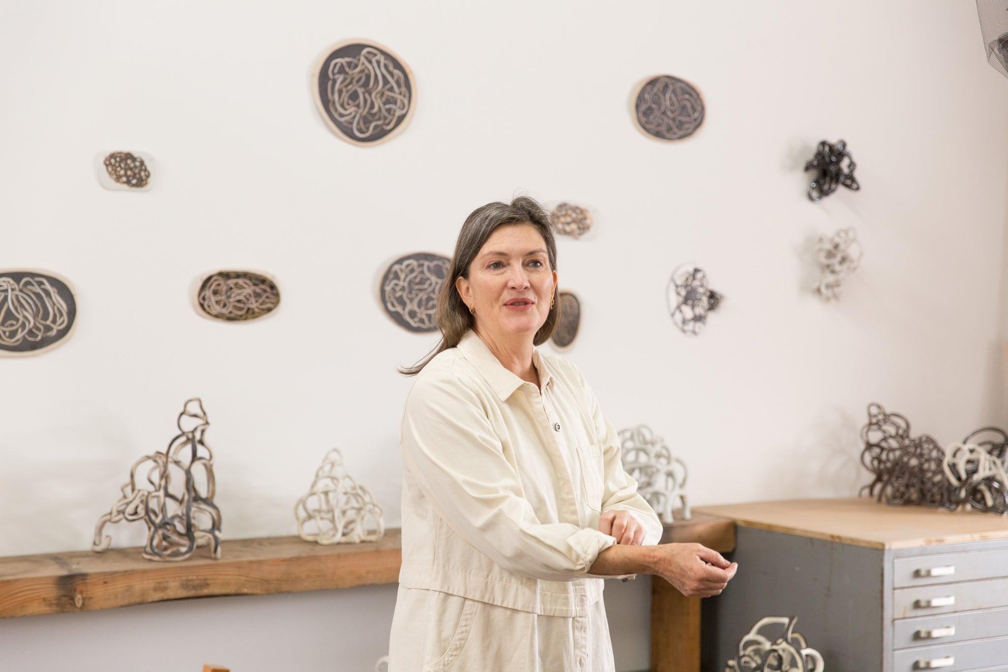 artist Laura Cooper in her Los Angeles art studio