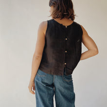 Button Back Tank in Black