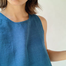 Button Back Tank in Cobalt