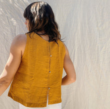 Load image into Gallery viewer, yuvita button back tank gold detail back shot on model