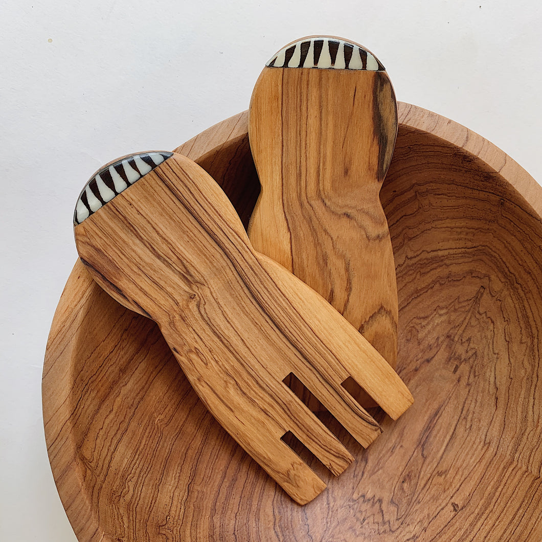 Olivewood Paddle Salad Servers