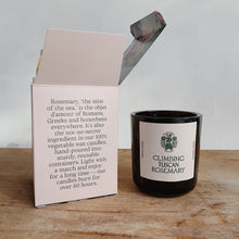 Load image into Gallery viewer, Climbing Tuscan rosemary candle next to its open pink packaging.