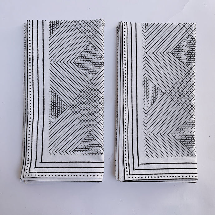 Blockprint Napkin Set/4 | Grey Grid