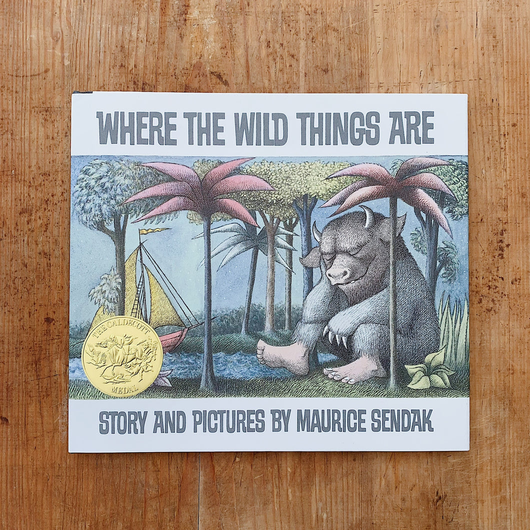 where the wild things are cover shot laydown top view on wooden background