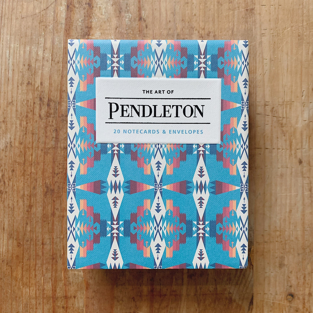 pendleton notecards cover shot top view laydown on wooden background