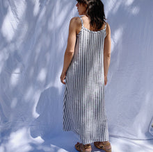 Load image into Gallery viewer, Yuvita | Button Front Dress in Grey Stripe