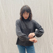 Load image into Gallery viewer, front view of model wearing SWTR's grey mock neck sweater