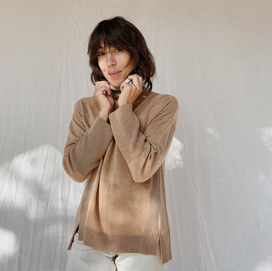 SWTR | Pointelle Turtleneck Sweater in Camel