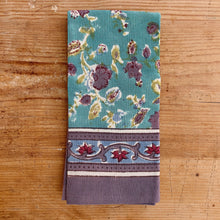 Load image into Gallery viewer, Turquoise Blossoms Tea Towel