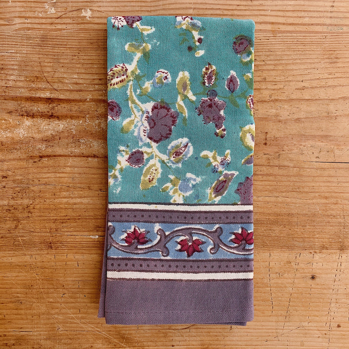 Turquoise Blossoms Tea Towel