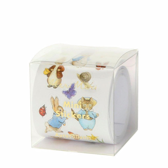 Front view of Peter Rabbit stickers through clear packaging