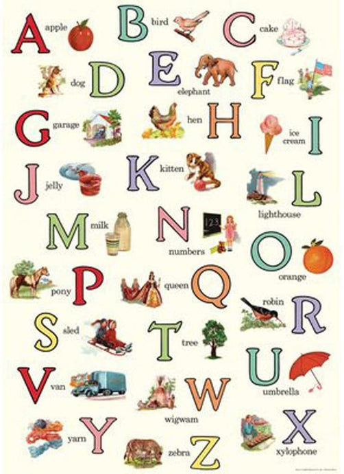 This beautiful print features vintage alphabet letters and corresponding images.