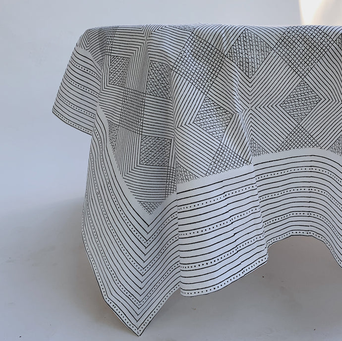 Blockprint Tablecloth | Grey Grid