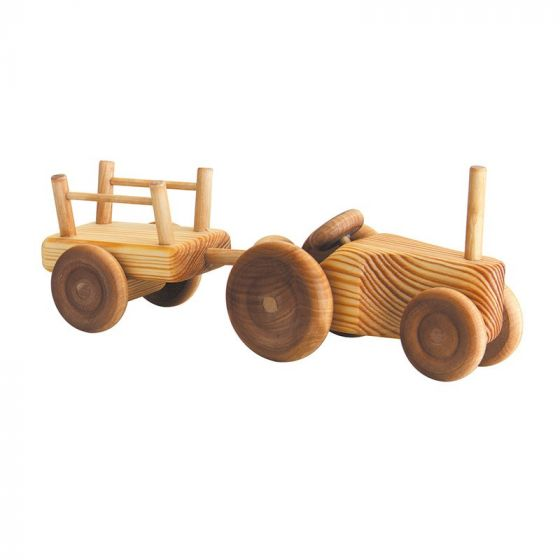 Debresk | Wooden Toy Tractor w/ Trailer Small