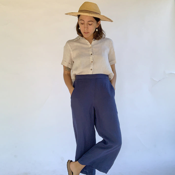 Fresh Laundry | Linen Flat Front Pants in Navy
