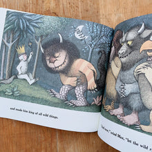 Load image into Gallery viewer, where the wild things are inside pages shot laydown top view on wooden background
