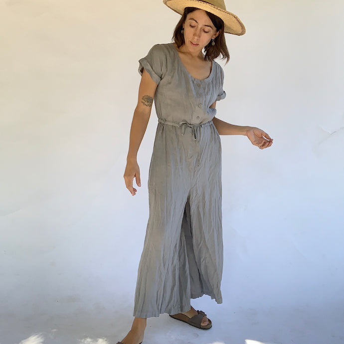 Flax | Cinch Waist Jumpsuit in Stone