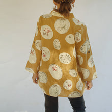 Load image into Gallery viewer, Back view of the Mona Lisa Dandelion Print Button Down top in mustard.
