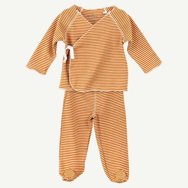 Oliver & Rain | Copper and White Mini Stripe 2-Piece Pima Cotton Wrap Set