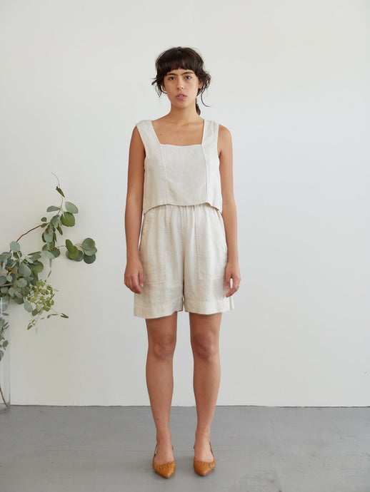 Front view of Acorn linen shorts in dune