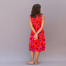 back view smash dress in red floral print by alquema