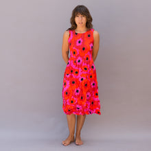 front view smash dress in red floral print by alquema
