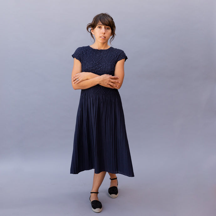 front view yuja dress in navy by alquema