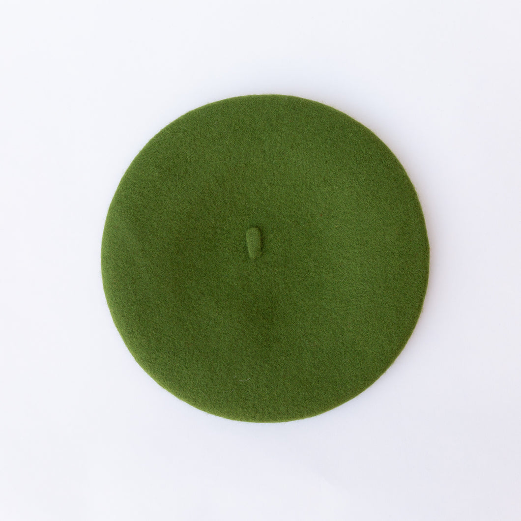 wool beret in avocado