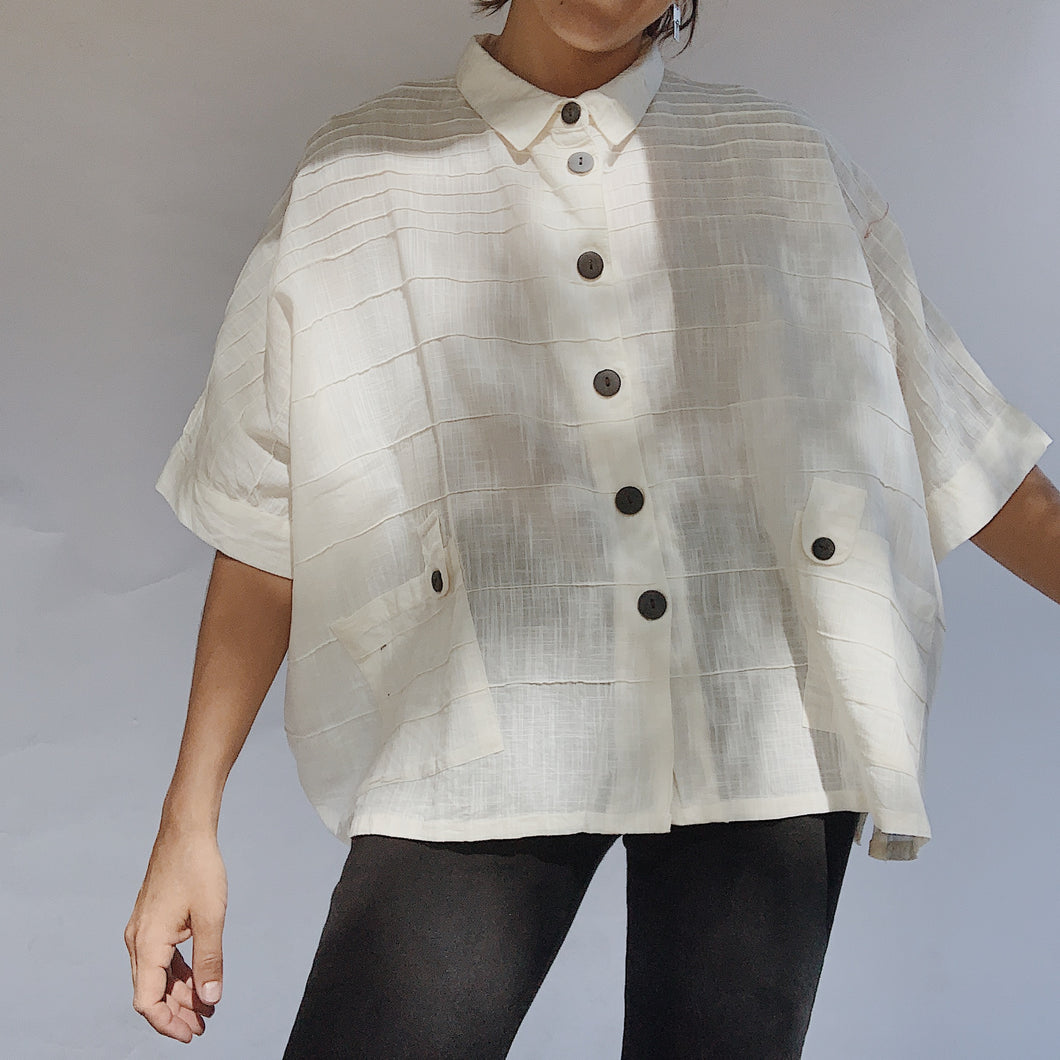 Mona Lisa | Boxy Button Up Blouse in Natural