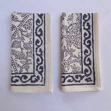 Blockprint Napkin Set/4 | Slate Floral