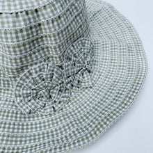 Load image into Gallery viewer, girls sage gingham hat laydown detail shot on white background