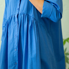 waist detail of positano dress in royal blue