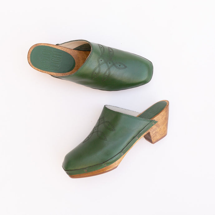 overhead view of square toe clog in green